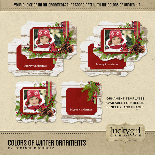 Colors Of Winter Ornaments Digital Art - Digital Scrapbooking Kits