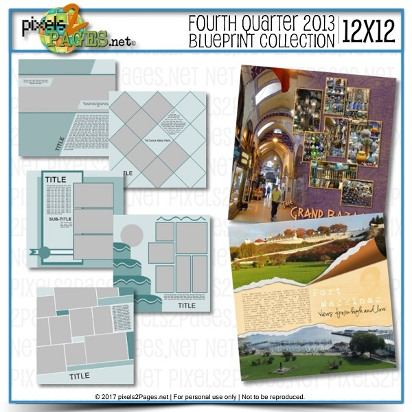12x12 Fourth Quarter 2013 Blueprint Collection Digital Art - Digital Scrapbooking Kits