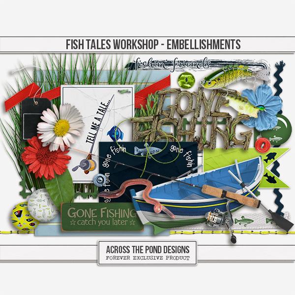 Fish Tales Workshop - Embellishments Digital Art - Digital Scrapbooking Kits