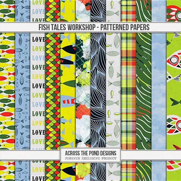 Fish Tales Workshop - Patterned Papers Digital Art - Digital Scrapbooking Kits