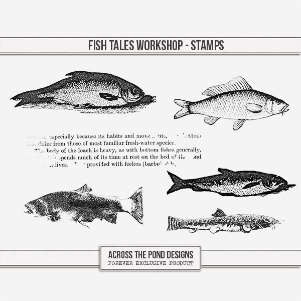 Fish Tales Workshop - Stamps Digital Art - Digital Scrapbooking Kits