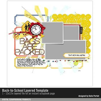 Back-to-school Layered Scrapbook Template Digital Art - Digital Scrapbooking Kits
