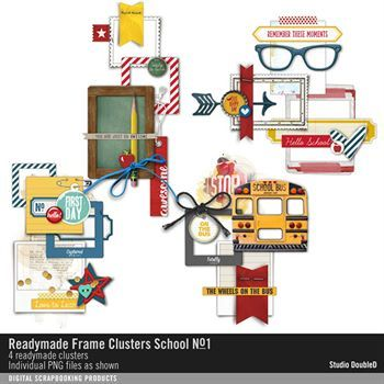Readymade Frame Clusters School No. 01 Digital Art - Digital Scrapbooking Kits