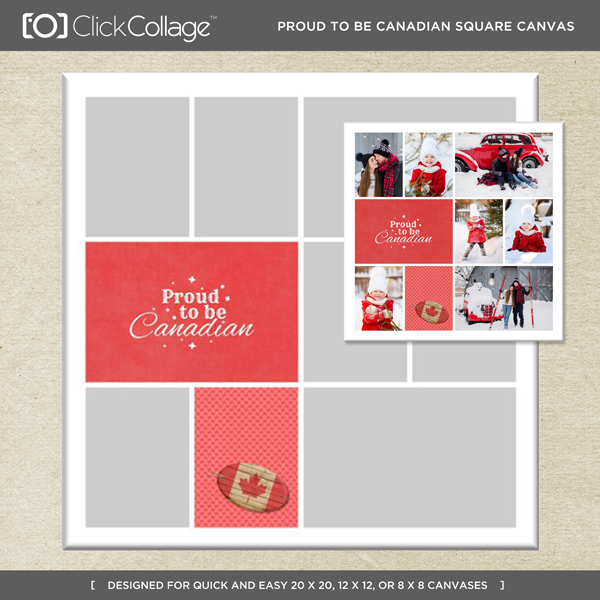 Proud Canadian Square Canvas Digital Art - Digital Scrapbooking Kits