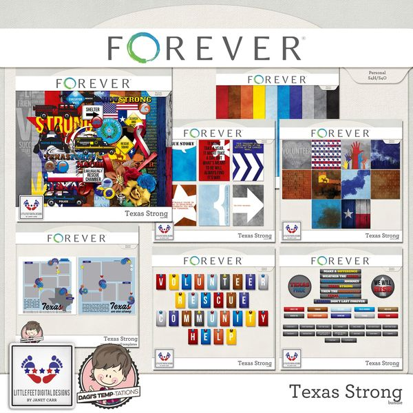 Texas Strong Bundle Digital Art - Digital Scrapbooking Kits