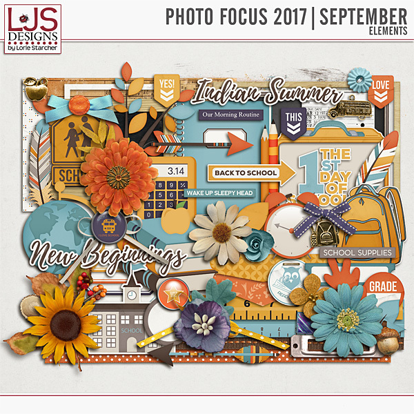 Photo Focus 2017 - September Elements Digital Art - Digital Scrapbooking Kits