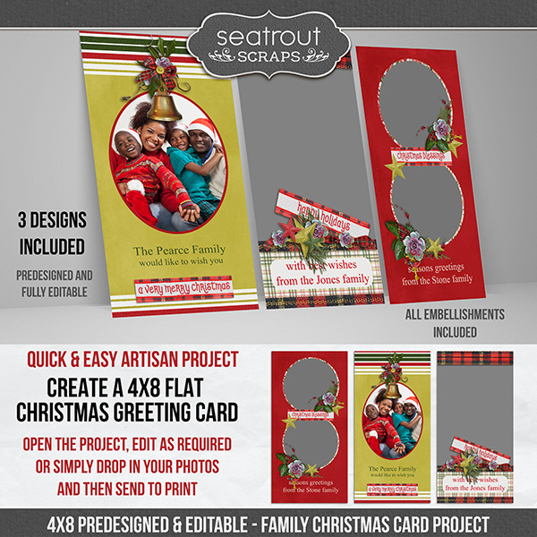 Family Christmas 4x8 Predesigned Flat Cards Digital Art - Digital Scrapbooking Kits