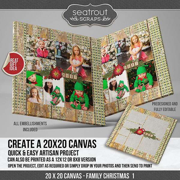 Family Christmas Canvas 1 Digital Art - Digital Scrapbooking Kits