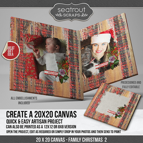 Family Christmas Canvas 2 Digital Art - Digital Scrapbooking Kits