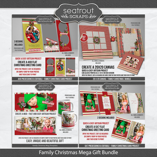 Family Christmas Mega Bundle Digital Art - Digital Scrapbooking Kits