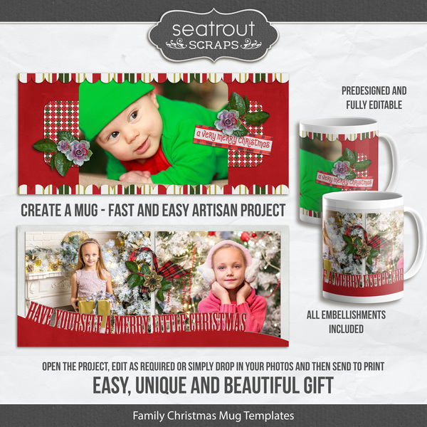 Family Christmas Mugs Predesigned And Editable Digital Art - Digital Scrapbooking Kits