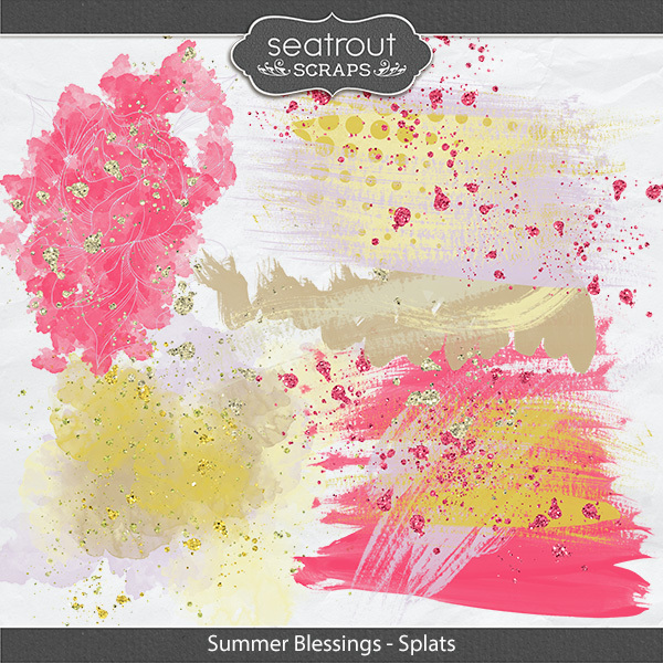 Summer Blessings Splats Digital Art - Digital Scrapbooking Kits