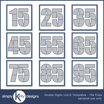 Double Digits 12x12 Templates - The Fives Bundle