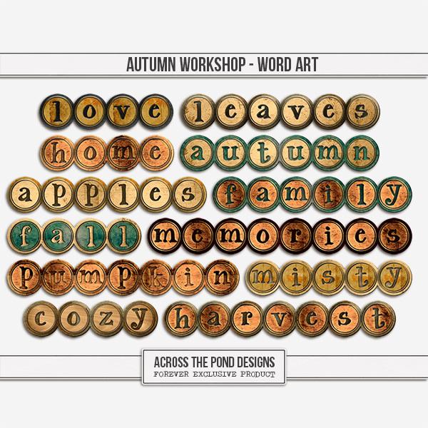 Autumn Workshop - Word Art Digital Art - Digital Scrapbooking Kits