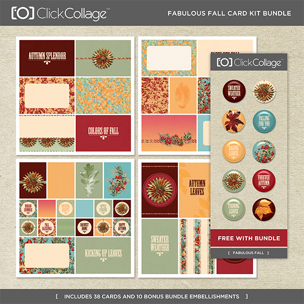 Fabulous Fall Card Kit Bundle Digital Art - Digital Scrapbooking Kits