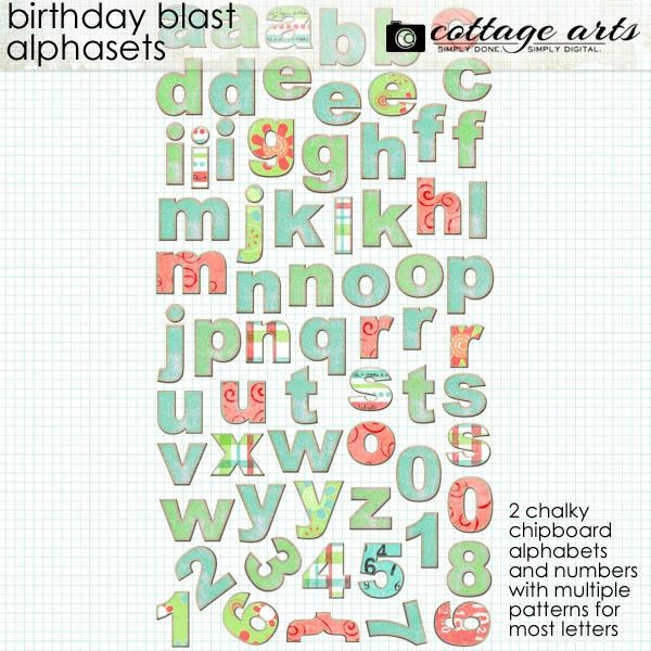 Birthday Blast Alphasets Digital Art - Digital Scrapbooking Kits