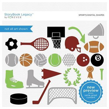 Sports Digital Shapes Digital Art - Digital Scrapbooking Kits