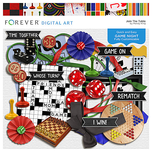 Join The Table - Game Night Page Kit Digital Art - Digital Scrapbooking Kits