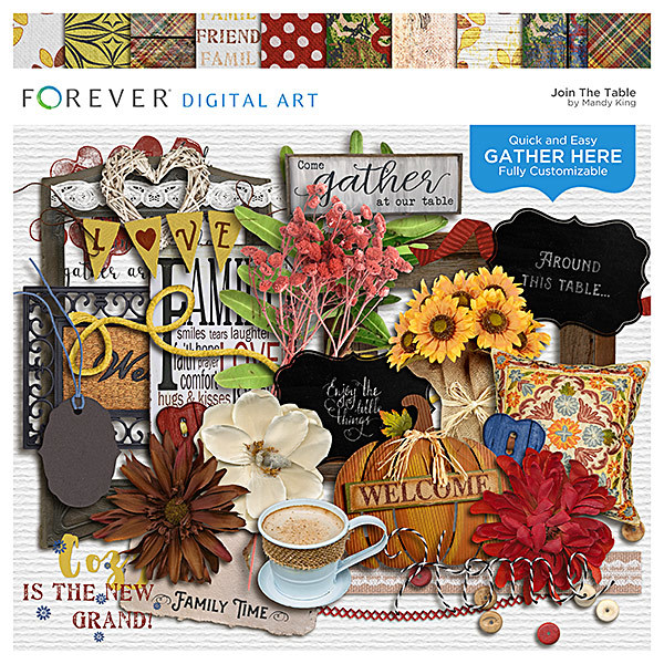 Join The Table - Gather Here Page Kit Digital Art - Digital Scrapbooking Kits