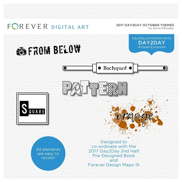 2017 Day2Day October Themes Digital Art - Digital Scrapbooking Kits