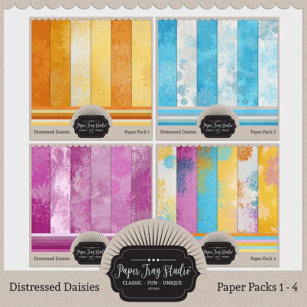 Distressed Daisies - 1-4 Bundle Digital Art - Digital Scrapbooking Kits
