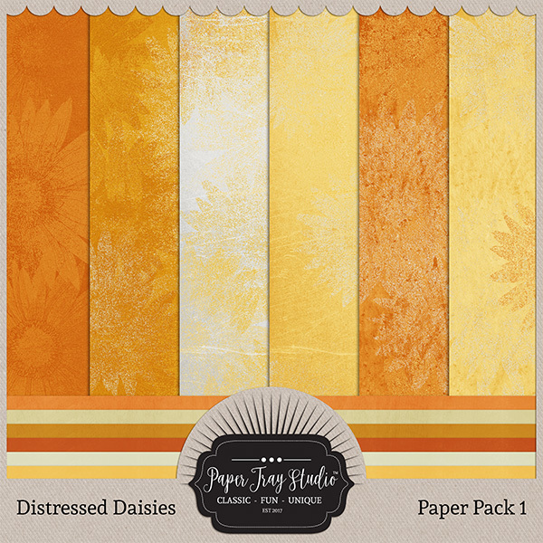Distressed Daisies - Paper Pack 1 Digital Art - Digital Scrapbooking Kits