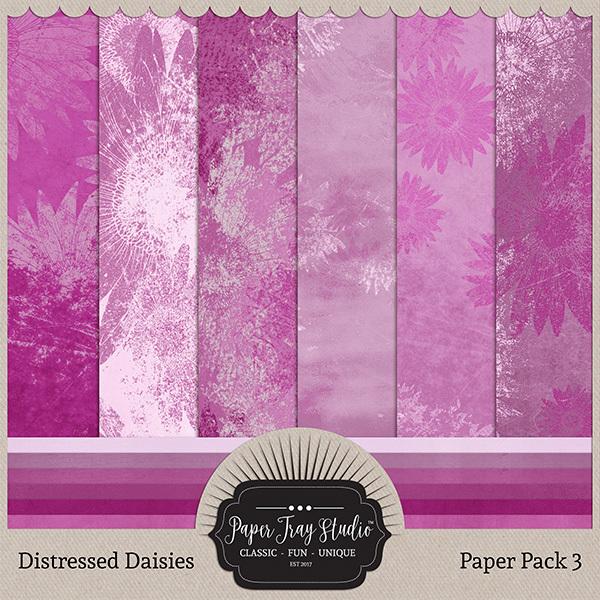 Distressed Daisies - Paper Pack 3 Digital Art - Digital Scrapbooking Kits