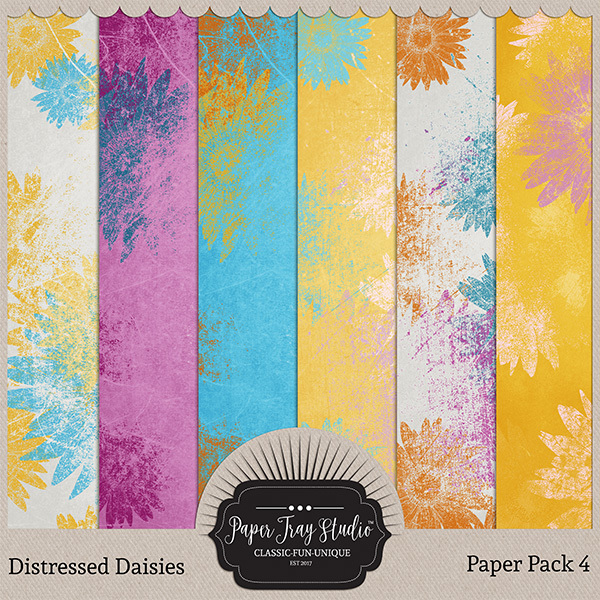 Distressed Daisies - Paper Pack 4