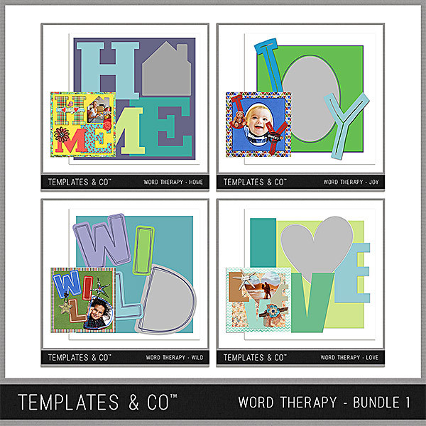 Word Therapy - Bundle 1 Digital Art - Digital Scrapbooking Kits