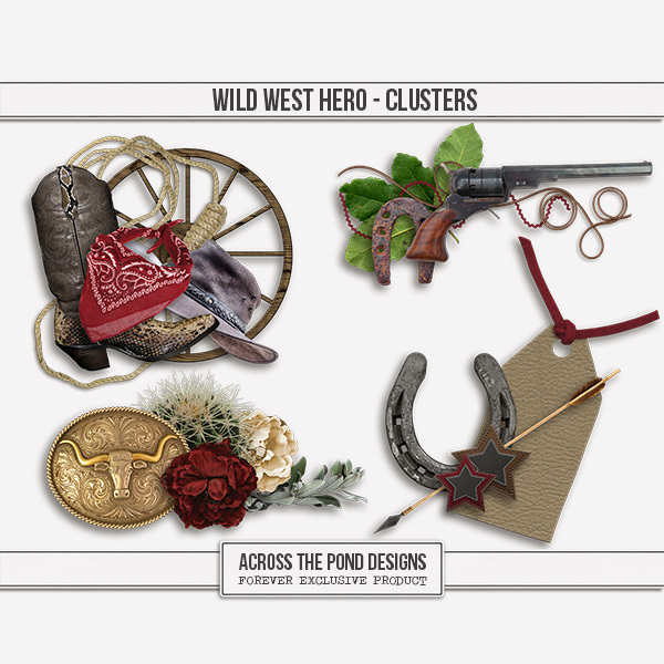 Wild West Hero - Clusters Digital Art - Digital Scrapbooking Kits