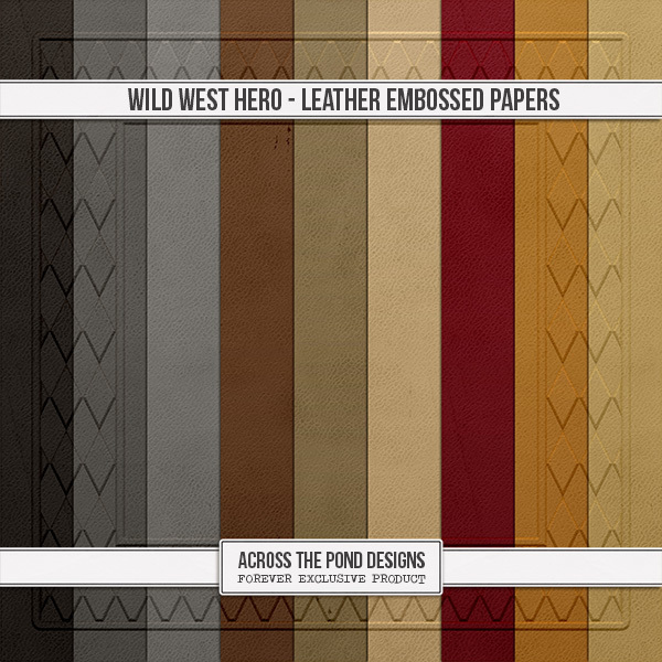 Wild West Hero - Leather Embossed Papers 2 Digital Art - Digital Scrapbooking Kits