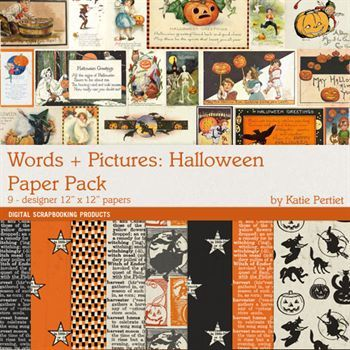 Words And Pictures Halloween Paper Pack Digital Art - Digital Scrapbooking Kits