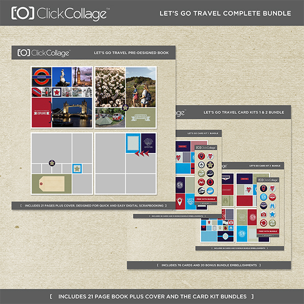 Let's Go Travel Pre-designed Book And Card Kit Bundle