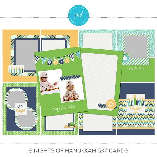 8 Nights Of Hanukkah 5x7 Cards Digital Art - Digital Scrapbooking Kits