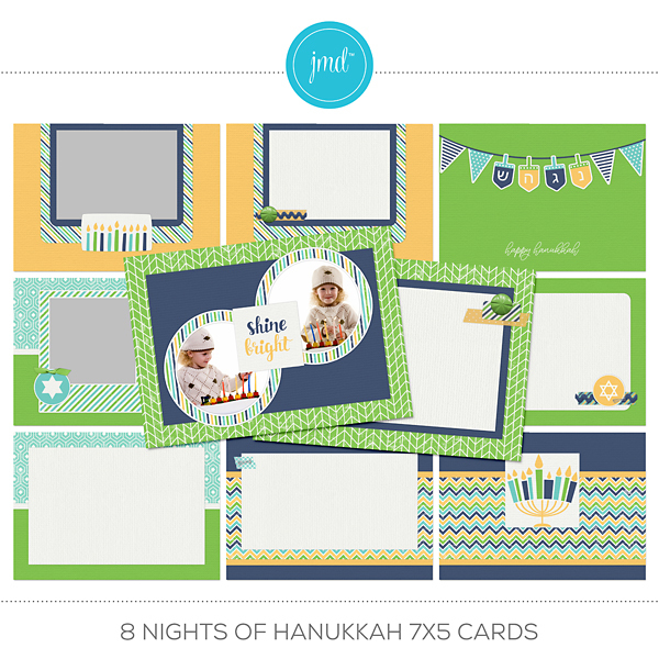 8 Nights Of Hanukkah 7x5 Cards Digital Art - Digital Scrapbooking Kits