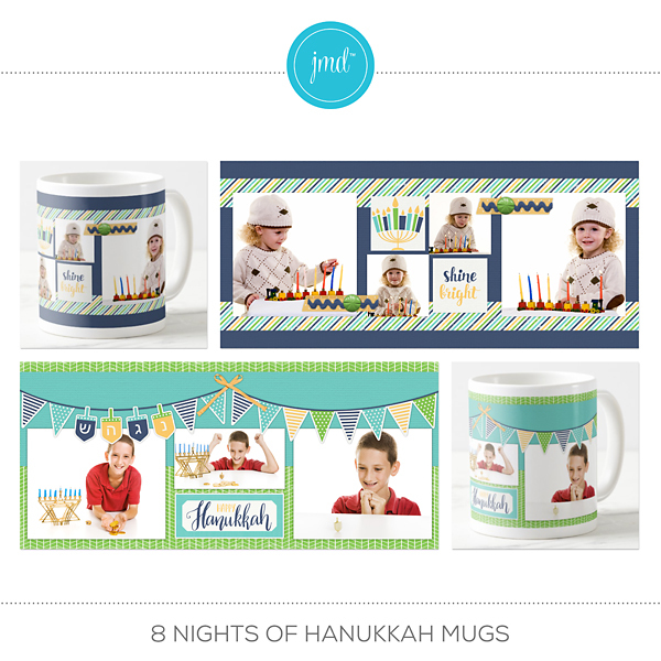 8 Nights Of Hanukkah Mugs Digital Art - Digital Scrapbooking Kits