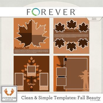 Clean And Simple Templates - Fall Beauty Digital Art - Digital Scrapbooking Kits