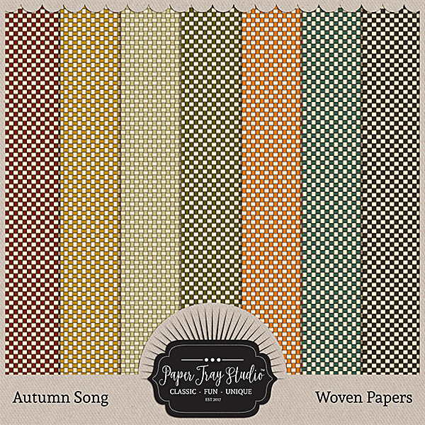 Autumn Song Papers - Woven Papers Digital Art - Digital Scrapbooking Kits