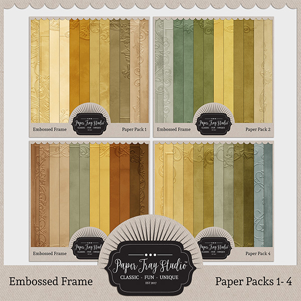 Embossed Frame Papers - Bundle (sets 1-4) Digital Art - Digital Scrapbooking Kits