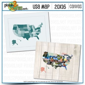 20x16 USA Map Canvas