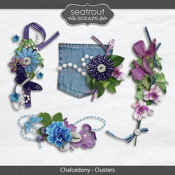 Chalcedony Clusters Digital Art - Digital Scrapbooking Kits
