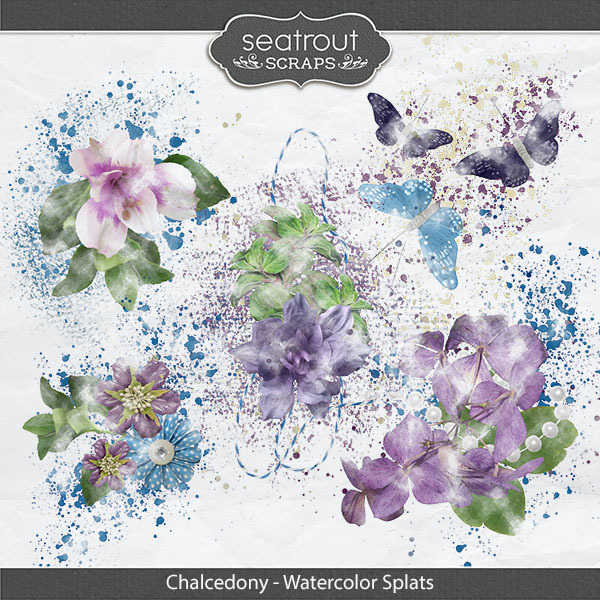 Chalcedony Watercolor Splats Digital Art - Digital Scrapbooking Kits