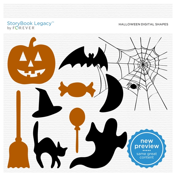 Halloween Digital Shapes Digital Art - Digital Scrapbooking Kits