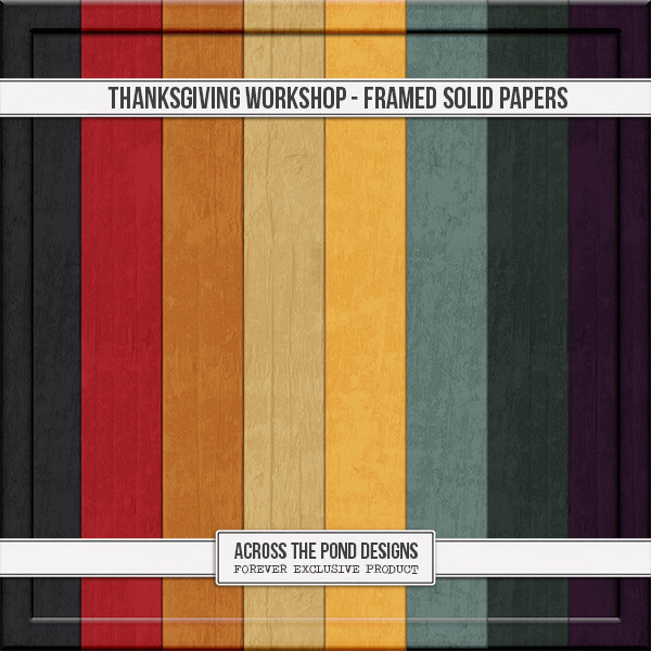 Thanksgiving Workshop - Embossed Frame Solid Papers Digital Art - Digital Scrapbooking Kits