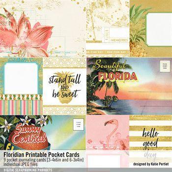 Floridian Printable Pocket Cards Digital Art - Digital Scrapbooking Kits