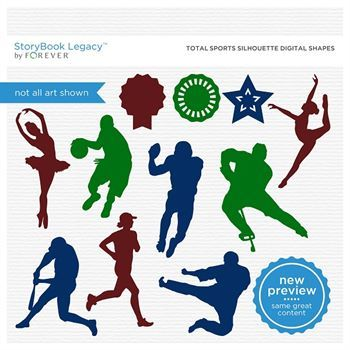 Total Sports Silhouette Digital Shapes Digital Art - Digital Scrapbooking Kits
