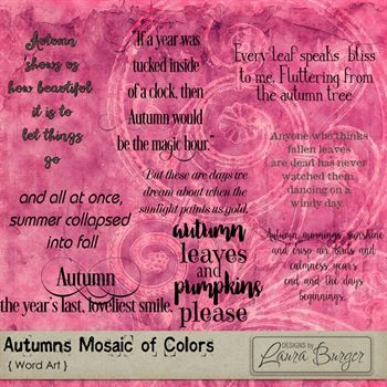 Autumn Mosaic Of Colors Word Art