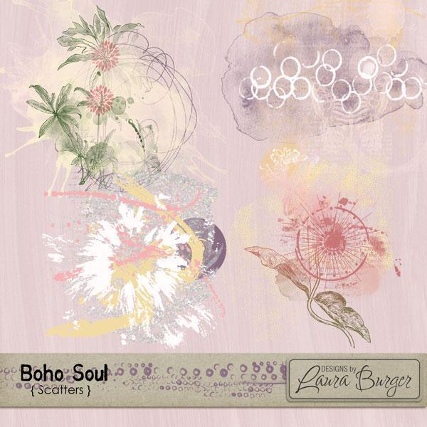Boho Soul Scatters Digital Art - Digital Scrapbooking Kits
