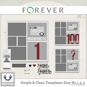 Clean And Simple Templates - Easy As 1, 2, 3 Digital Art - Digital Scrapbooking Kits