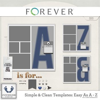 Clean And Simple Templates - Easy As A - Z Digital Art - Digital Scrapbooking Kits